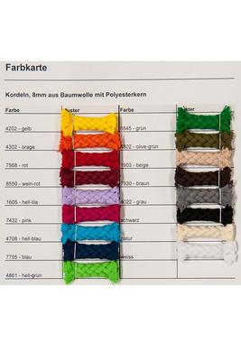 8 mm, Meterware, Baumwollkordel (mit Polyesterkern)