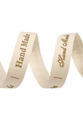 """Handmade"" Bedrucktes Baumwollband, 15 mm, Meterware"