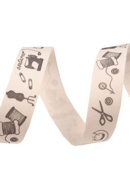 """Schere"" Bedrucktes Baumwollband, 15mm, Meterware"