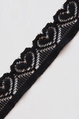 Elastisches Spitzenband mit Herzen, schwarz