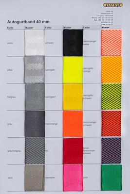 Farbkarte Autogurtband