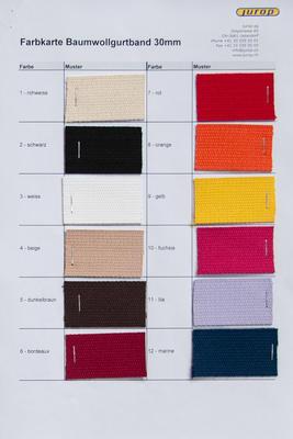 Farbkarte 30 mm Baumwollgurtband