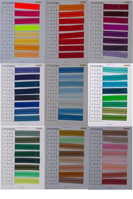 Farbkarte Reissverschluss