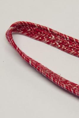 14 mm, Meterware, Flache Kordel, rot, mit Lurex