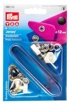 Prym Jersey Druckknöpfe, schwarze Kappe 12mm, 390170