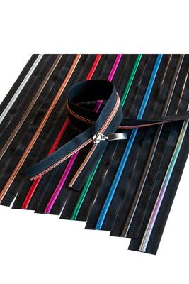 6,5 mm mit Metallic-Spirale, schwarz, Reissverschluss