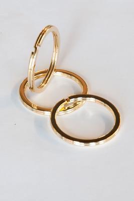 Schlüsselring Gold 37 mm, flach